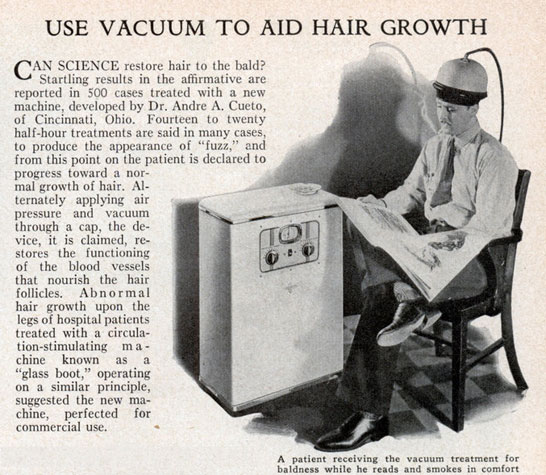 Use vaccuum to aid hair growth