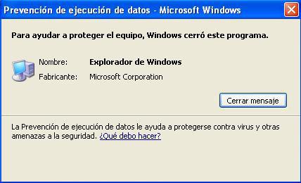 Error de Explorer en Windows XP