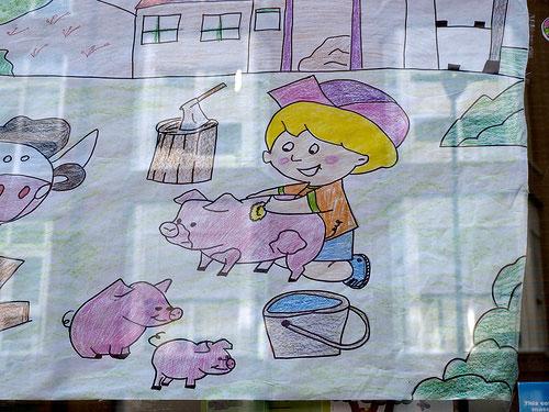 Dibujo visto en la ventana de una guardería por FerPer