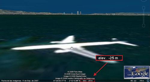Avión submarino en Google Earth 5