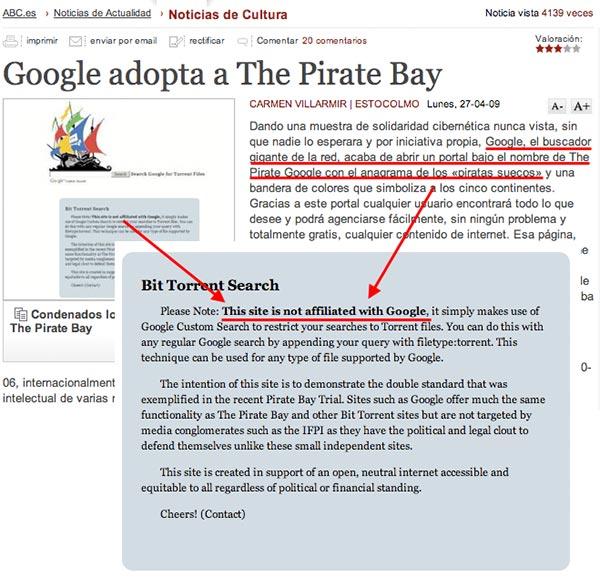 Google adopta The Pirate Bay