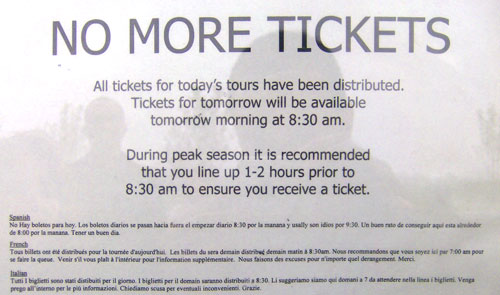 No more tickets