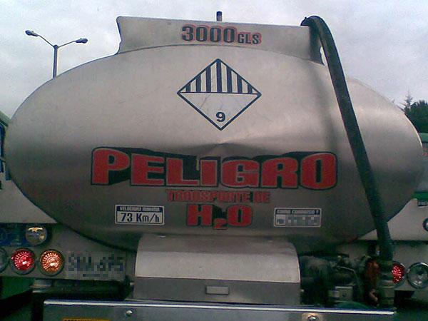 Peligro transporte H2O