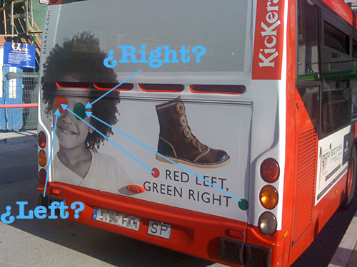 Red lef tgreen right bus