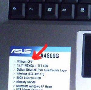 ASUS portátil sin CPU