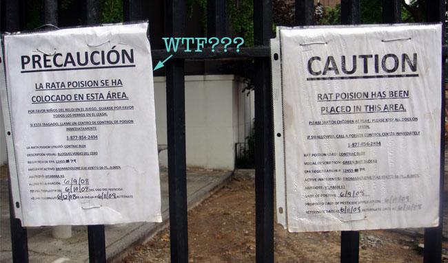 Los niños hispanos podrían morir, pero sólo se nos ocurrió traducir con Altavista el letrero…